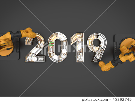 New year 2019 made from mechanical  45292749