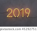 New year 2019 made from neon alphabet 45292751