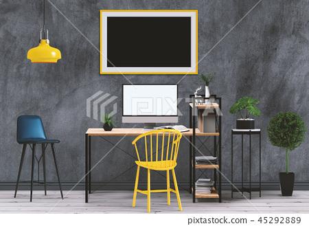 Mockup blank poster with desktop computer 45292889