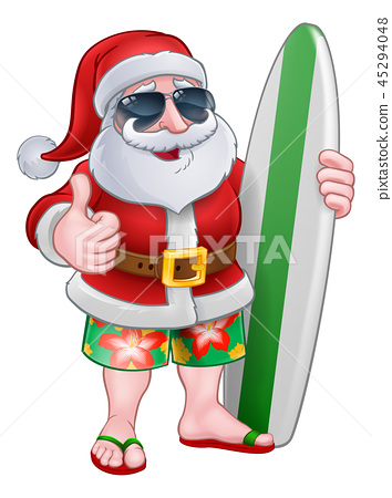 Cool Santa With Surfboard and Sunglasses Cartoon 45294048