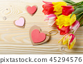 Colorful tulip flowers and heart shape cards 45294576