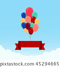 Balloon with ribbon in the sky with clouds 45294665