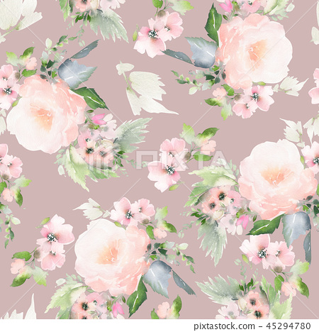 Seamless summer pattern with watercolor flowers 45294780