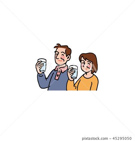 물을 마시는 부부 45295050