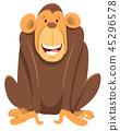 happy chimpanzee ape animal character 45296578