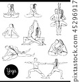 yoga in couple black and white cartoon set 45296917