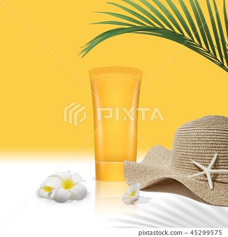 코스메틱 오브젝트, 여름 화장품, 썬블록과 자외선 45299575