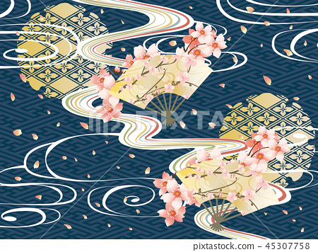 일본식 디자인과 파도와 벚꽃의 배경 소재 45307758