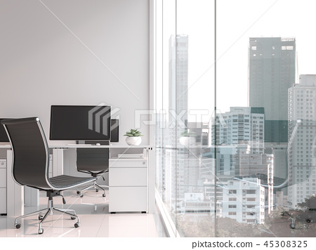A working table located by the window 3d render 45308325