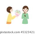 人物 - 收到花束的女人 45323421