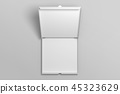 Empty top view opened pizza box mockup. 45323629