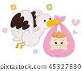 Stork and baby 45327830