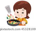 요리를하는 여자 45328109