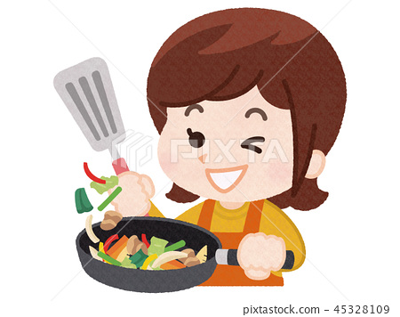 一個女人做飯 45328109