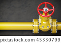 Gas pipeline valve on a wall. Space for text.  45330799
