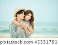 여름, 바다, 데이트, 커플, 연인, 여자, 남자, 파도 45331791