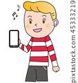 baby, boy, smartphone 45333219