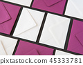Composition with white and purple envelopes  45333781