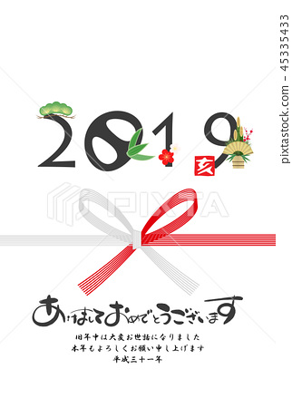 2019, material for new year's cards, japanese envelope decoration 45335433