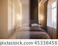 3d render of an interior design of a white minimalist bedroom 45336456