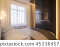 3d render of an interior design of a white minimalist bedroom 45336457