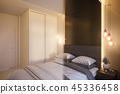 3d render of an interior design of a white minimalist bedroom 45336458
