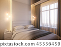 3d render of an interior design of a white minimalist bedroom 45336459
