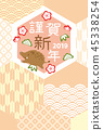 new year's card, sign of the hog, twelfth sign of the chinese zodiac 45338254