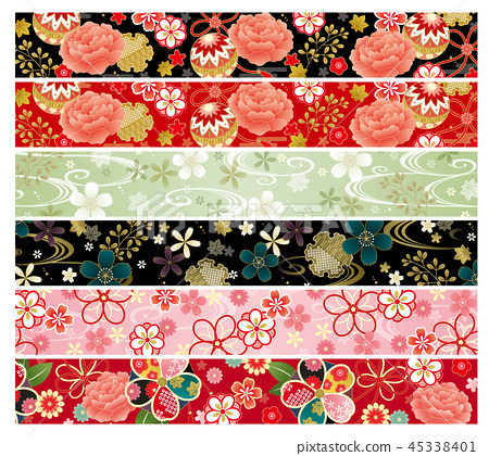Japanese pattern band set horizontal 45338401