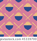 Noodles and chopsticks vector seamless pattern 45339700