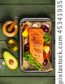 Baking dish with fresh raw salmon steak, vegetables  and seasoni 45341935