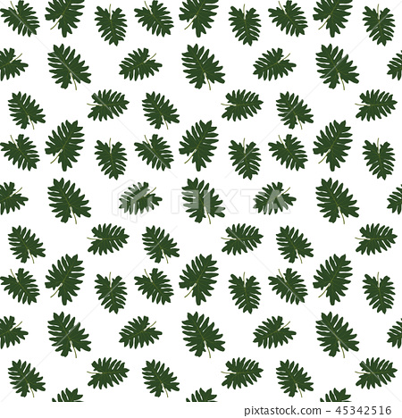 Silhouette of leaf Trees on White Background. Seamless pattern. Vector Illustration 45342516