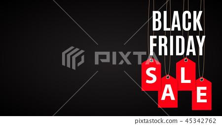 Black Friday Sale Inscription Banner Design Template. Vector illustration 45342762