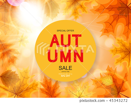 Abstract Vector Illustration Autumn Sale Background with Falling Autumn Leaves 45343272