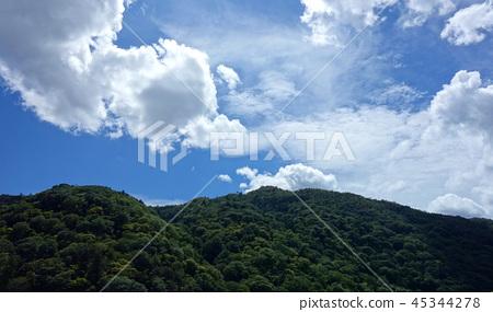 일본 교토 아라시야마 능선과 푸른 하늘 Japan Kyoto Arashiyama ridgeline 45344278