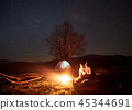 camping, tent, bonfire 45344691