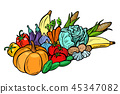 autumn harvest pumpkin corn cabbage tomato potato carrot cucumbe 45347082