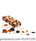 Superfood breakfast bar with oats and dried fruits, above view on white background 45347295