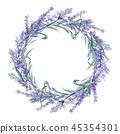 Purple lavender. Floral botanical flower. Wild spring leaf wildflower. Frame border ornament square. 45354301