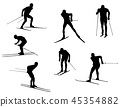 skiers silhouette collection. vector. 45354882