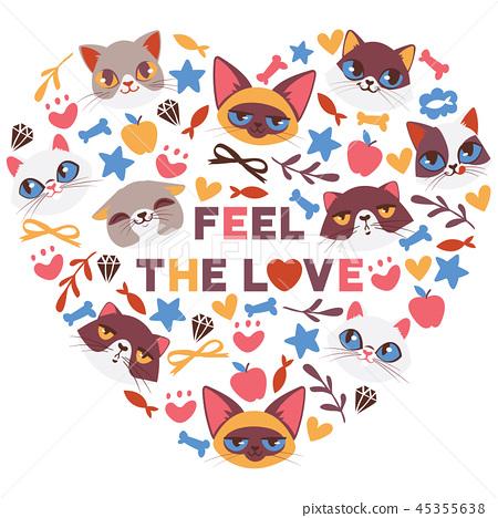 Cute Cats In Heart Shape Vector Illustration Stock Illustration 45355638 Pixta
