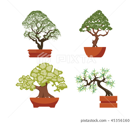 Vector Set Of Colorful Bonsai Trees Stock Illustration 45356160 Pixta
