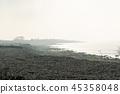Foggy coastline by fall season 45358048