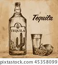 Bottle of tequila with lime and glass. painted by hand 45358099