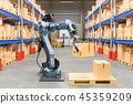 Robotic arm with cardboard box 45359209