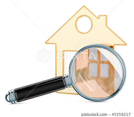 House with Magnifier, 3D rendering 45359217