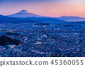 (시즈오카 현) 시즈오카시의 거리와 후지산 새벽 45360055