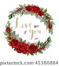 Love you postcard wreath with red rose flowers bouquet and lettering 45360884