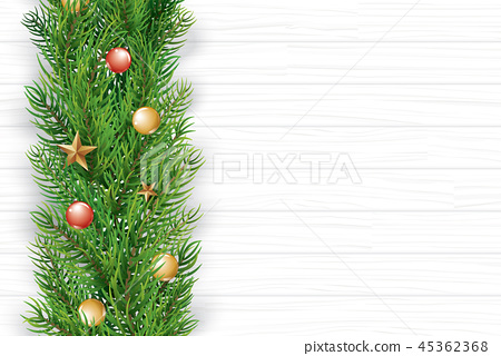 Christmas with fir branch on white wooden  45362368