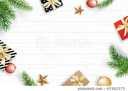 Christmas frame with copy space on white wooden 45362373